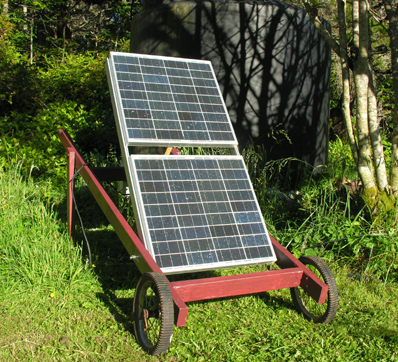Solar panels on handmade wheeled cart