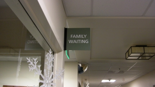 "Family waiting room ""...and here we are."""