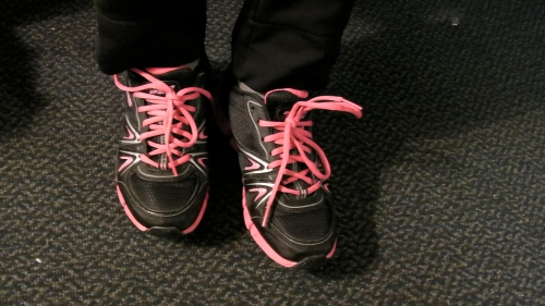 Pink shoe laces for granddaughter