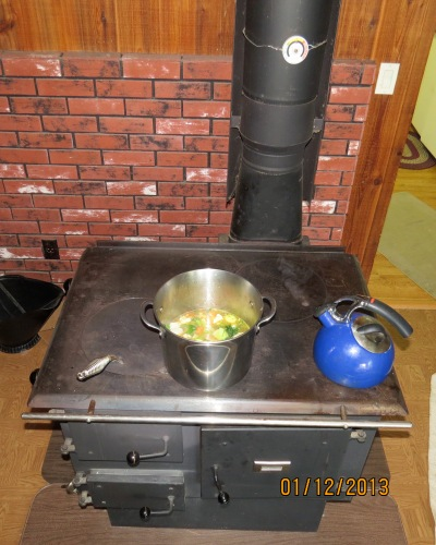 Cooking on the wood cook stove