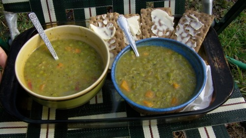Double split-pea soup made from scratch from my sweetie, so I could have something to eat while I tended the fire.