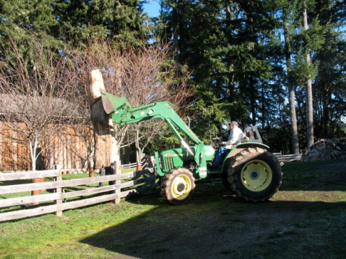 What do you use to lift a large log over fence?  A large tractor of course.  LG demonstrates how to do it without smashing your fence.