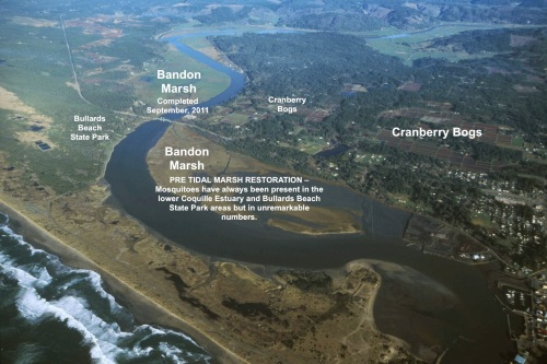 Aerial map of Bandon Marsh showing close proximetry of cranberry bogs, Bullards Beach State Park, and Coquille Lower Estuary.