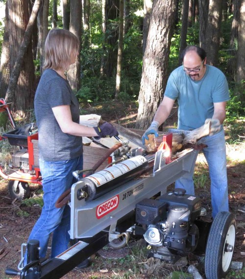 Daughter and son-in-law help us with firewood splitting and stacking every year.