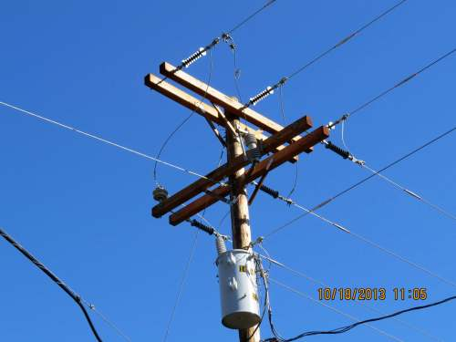 After a couple of days, the new pole is placed, wires hooked up, and potential problem is prevented.