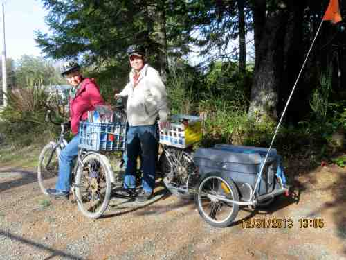 Our bicycles are nothing fancy, but they work to get us to the grocery store or post office, a distance of 3 miles round trip.