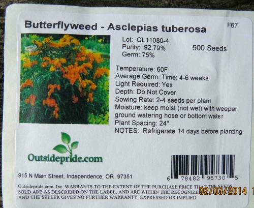 February 3, 2014...received my Butterflyseed package today.  These bright flowers attract honeybees also.
