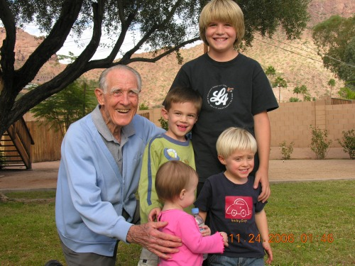 November 23, 2006...Dad with his great grandchildren during a family reunion.