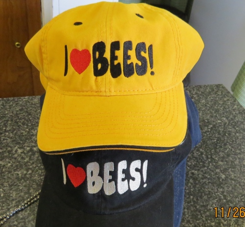 "I have to admit I got the idea for these hats from a ""I Heart Bees"" sticker that my daughter gave  me.  I knew it would be a conversation starter (not that I needed one) to talk about my favorite subject. If the subject turns to bee keeping, I carry pictures in a shirt pocket to brag up my log hives."