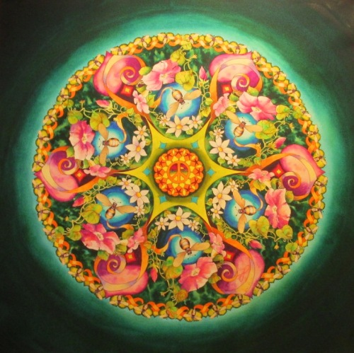 Let It Bee mandala...water color painting by Vikki Reed.