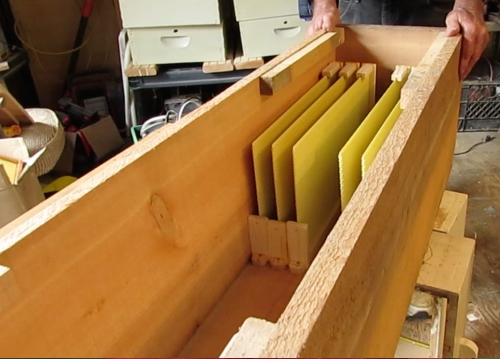 Frames are cut away to be able to see the comb being built through the observation window.