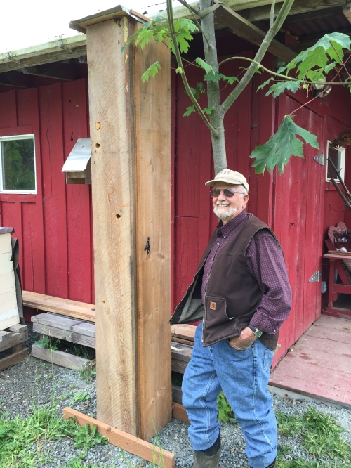 May 21, 2015.....Hal stands proudly next to his log hive #4. The bees voted his hive as their top favorite place and moved in about two weeks ago. How tall is it...? Eight feet tall (2.4 meters) Bee hive capacity is 7524 cubic inches (123 liters)