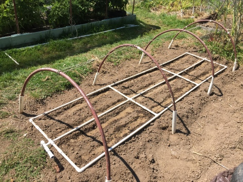 Deer net hoops set up.