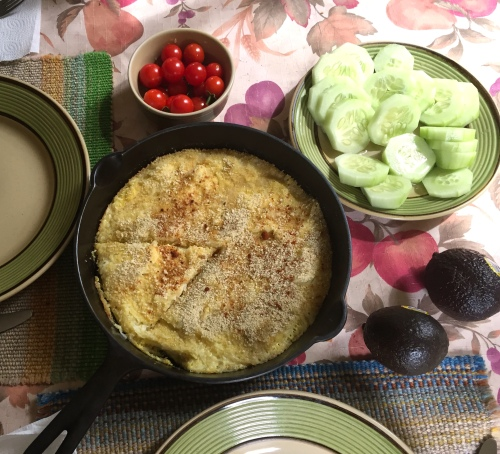 September 2...More turnip thinnings result in a Turnip Frittata.  Soooo very delicious!!! After reading about the health benefits of turnips, I planted more this evening.  If they flower in January or February, the bees will benefit as well.