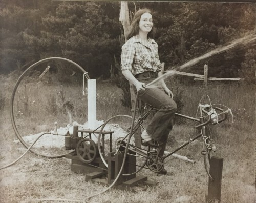 Pumping water, bicycle, Sue in 1973, 74, or 75