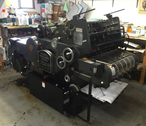 The Heidelberg KORD 64 press waiting to be moved.  It has been a real workhorse for me for most of 26 years.