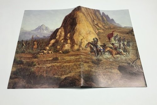 When you open the brochure you see the rest of the painting showing the ambush awaiting the cavalry! Click to enlarge.