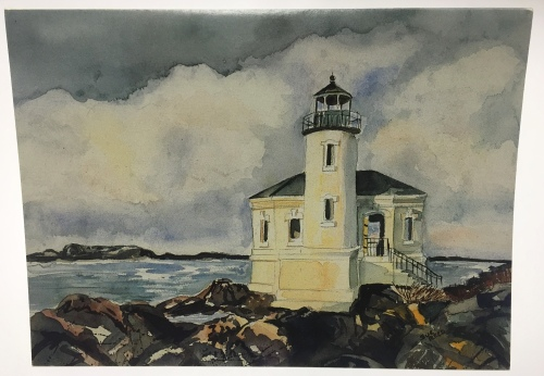 "My wife had her own line of watercolor greeting cards.  ""After the Storm,"" is one of my favorites, depicting the Bandon Lighthouse."